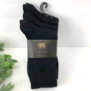 Frye Everyday Crew Socks Black Three Pairs Cotton